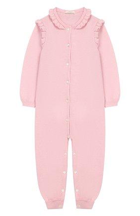 Детский кашемировый комбинезон BABY T светло-розового цвета, арт. 19AIC871T/18M-2A | Фото 1