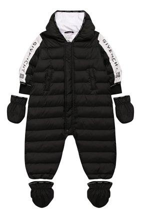 Детский утепленный комбинезон GIVENCHY черного цвета, арт. H96014 | Фото 1