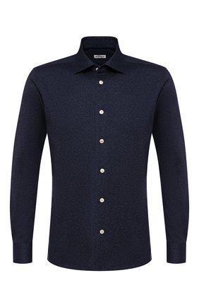 Мужская хлопковая рубашка KITON синего цвета, арт. UMCNERH0701801 | Фото 1