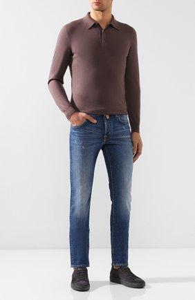 Мужское поло из смеси кашемира и шелка SVEVO коричневого цвета, арт. 0670/1SA19/MP06/2   Фото 2