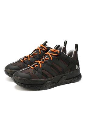 Мужские комбинированные кроссовки union BURBERRY коричневого цвета, арт. 8013394   Фото 1