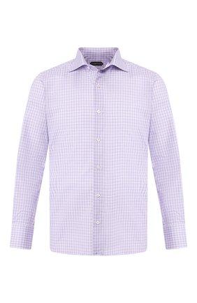 Мужская сорочка из смеси хлопка и шелка TOM FORD сиреневого цвета, арт. 6FT116/94S3AX | Фото 1
