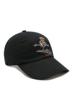 Мужской хлопковая бейсболка POLO RALPH LAUREN черного цвета, арт. 710767311 | Фото 1