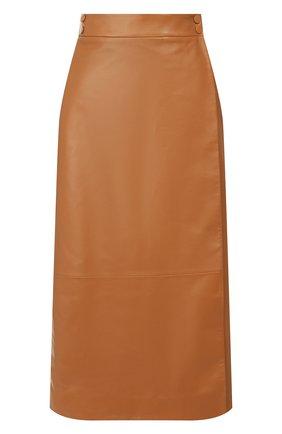 Женская кожаная юбка LORO PIANA коричневого цвета, арт. FAI8604 | Фото 1
