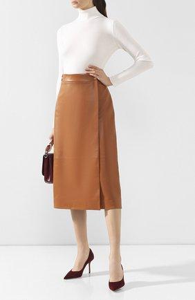 Женская кожаная юбка LORO PIANA коричневого цвета, арт. FAI8604 | Фото 2