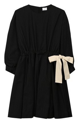 Детское платье из смеси шерсти и хлопка UNLABEL черного цвета, арт. Y0K0-2/09-IN105/12A-16A | Фото 1