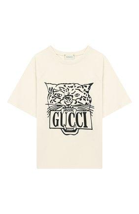 Детская хлопковая футболка GUCCI кремвого цвета, арт. 587687/XJBDA | Фото 1