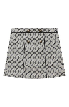 Детская хлопковая юбка GUCCI бежевого цвета, арт. 571293/XWAE2 | Фото 1