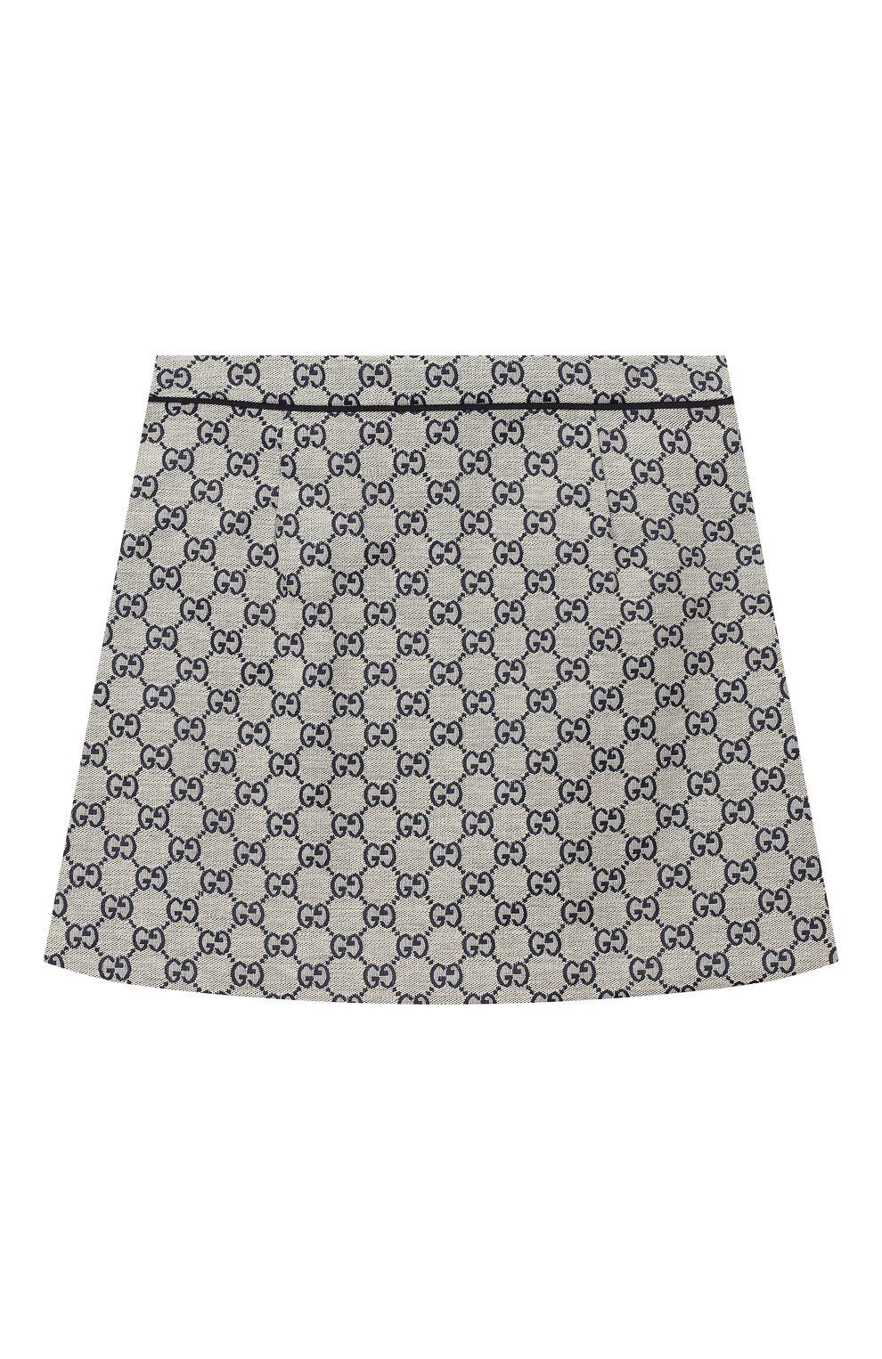 Детская хлопковая юбка GUCCI бежевого цвета, арт. 571293/XWAE2 | Фото 2 (Случай: Повседневный; Материал внешний: Хлопок; Статус проверки: Проверено, Проверена категория)