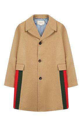 Детское шерстяное пальто GUCCI бежевого цвета, арт. 516372/XB825 | Фото 1