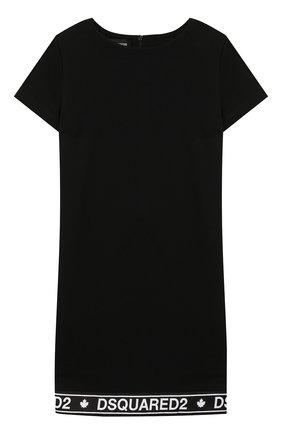 Детское хлопковое платье DSQUARED2 черного цвета, арт. DQ03R2-D00V3 | Фото 1