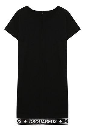 Детское хлопковое платье DSQUARED2 черного цвета, арт. DQ03R2-D00V3 | Фото 2