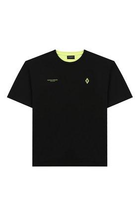 Детская хлопковая футболка MARCELO BURLON KIDS OF MILAN черного цвета, арт. B/MB/1103/0010/8-14Y | Фото 1