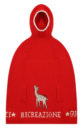 Детское шерстяное пончо GUCCI красного цвета, арт. 571700/XKATY | Фото 1