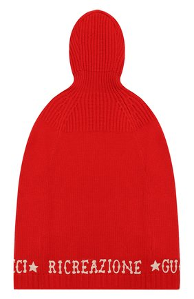 Детское шерстяное пончо GUCCI красного цвета, арт. 571700/XKATY | Фото 2