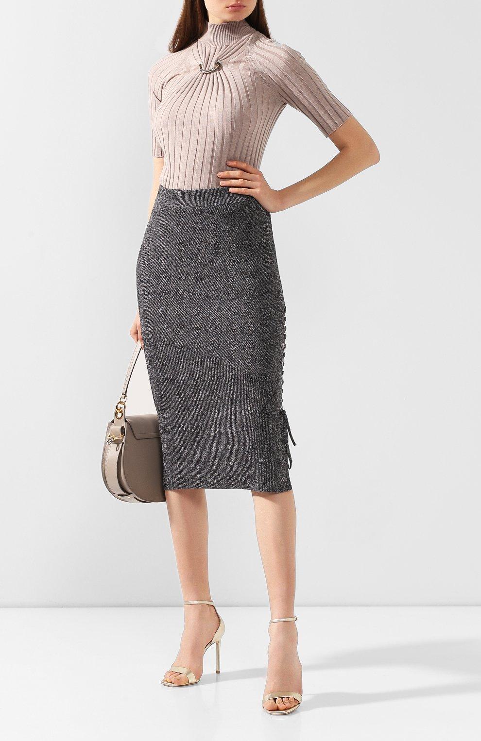 Женская хлопковая юбка MCQ SWALLOW серого цвета, арт. 559234/RNK34 | Фото 2 (Материал внешний: Хлопок; Длина Ж (юбки, платья, шорты): Миди; Статус проверки: Проверено, Проверена категория)
