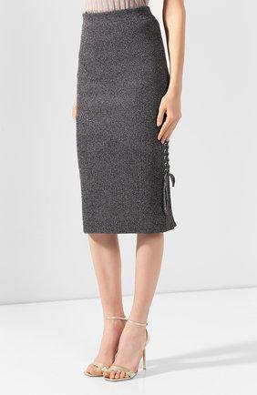Женская хлопковая юбка MCQ SWALLOW серого цвета, арт. 559234/RNK34 | Фото 3 (Материал внешний: Хлопок; Длина Ж (юбки, платья, шорты): Миди; Статус проверки: Проверено, Проверена категория)