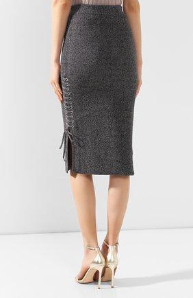 Женская хлопковая юбка MCQ SWALLOW серого цвета, арт. 559234/RNK34 | Фото 4 (Материал внешний: Хлопок; Длина Ж (юбки, платья, шорты): Миди; Статус проверки: Проверено, Проверена категория)
