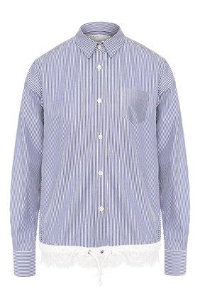 Женская рубашка в полоску SACAI голубого цвета, арт. SCW-008 | Фото 1