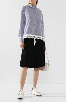 Женская рубашка в полоску SACAI голубого цвета, арт. SCW-008 | Фото 2