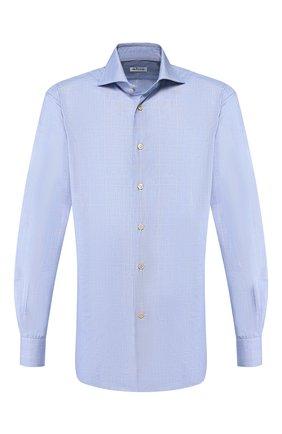 Мужская хлопковая сорочка KITON синего цвета, арт. UCCH0706408 | Фото 1