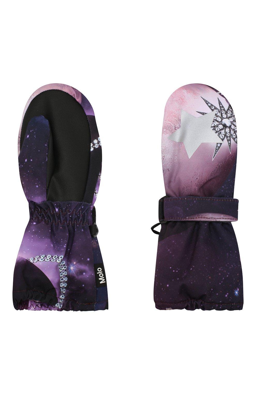 Детские варежки MOLO фиолетового цвета, арт. 7W19S104   Фото 2