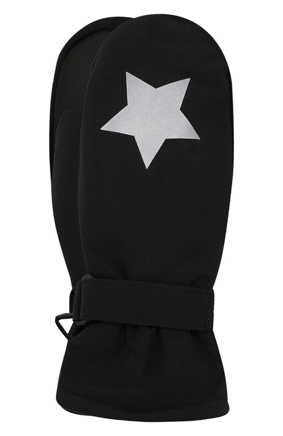 Детские варежки MOLO черного цвета, арт. 7W19S103   Фото 1 (Материал: Текстиль, Синтетический материал; Статус проверки: Проверена категория)