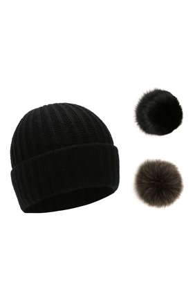 Женский шерстяная шапка с помпонами YVES SALOMON черного цвета, арт. 20WAA523XXMARD | Фото 1