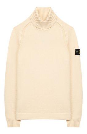 Детский хлопковый свитер STONE ISLAND светло-бежевого цвета, арт. 7116520A2/10-12 | Фото 1