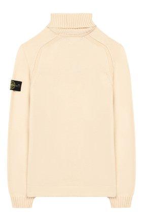 Детский хлопковый свитер STONE ISLAND светло-бежевого цвета, арт. 7116520A2/10-12 | Фото 2