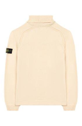 Детский хлопковый свитер STONE ISLAND светло-бежевого цвета, арт. 7116520A2/6-8 | Фото 2