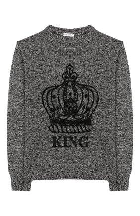 Детский свитер из смеси шерсти и кашемира DOLCE & GABBANA серого цвета, арт. L4KW41/JAMYK/8-14 | Фото 1