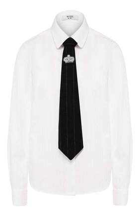 Женская хлопковая рубашка WEILL белого цвета, арт. 117024 | Фото 1 (Материал внешний: Хлопок; Длина (для топов): Стандартные; Рукава: Длинные; Принт: Без принта; Женское Кросс-КТ: Рубашка-одежда)