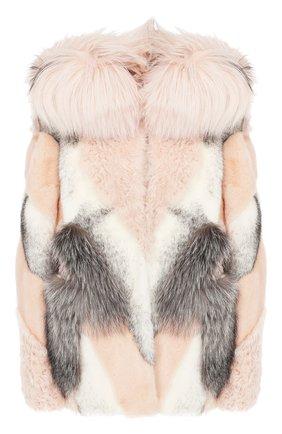 Женская укороченная шуба YVES SALOMON светло-розового цвета, арт. 9WYV42068MIXX | Фото 1