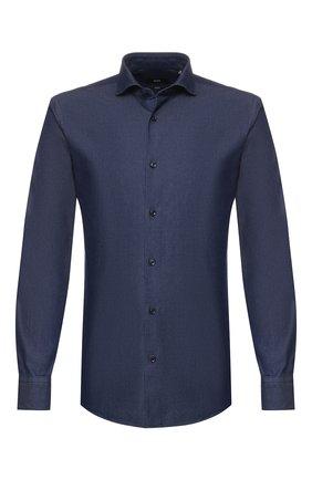 Мужская хлопковая рубашка BOSS темно-синего цвета, арт. 50415991   Фото 1