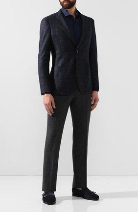Мужская хлопковая рубашка BOSS темно-синего цвета, арт. 50415991   Фото 2