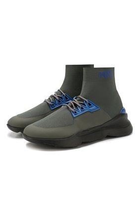 Мужские текстильные кроссовки KNT зеленого цвета, арт. USSK016N00428 | Фото 1