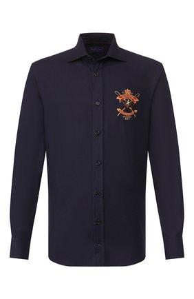Мужская рубашка из смеси хлопка и кашемира RALPH LAUREN темно-синего цвета, арт. 790765489 | Фото 1 (Рукава: Длинные; Статус проверки: Проверено, Проверена категория; Длина (для топов): Стандартные; Материал внешний: Хлопок; Мужское Кросс-КТ: Рубашка-одежда; Принт: С принтом; Случай: Повседневный; Манжеты: На пуговицах; Воротник: Акула)