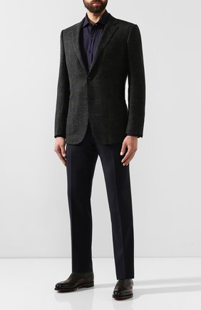 Мужская рубашка из смеси хлопка и кашемира RALPH LAUREN темно-синего цвета, арт. 790765489 | Фото 2 (Рукава: Длинные; Статус проверки: Проверено, Проверена категория; Длина (для топов): Стандартные; Материал внешний: Хлопок; Мужское Кросс-КТ: Рубашка-одежда; Принт: С принтом; Случай: Повседневный; Манжеты: На пуговицах; Воротник: Акула)