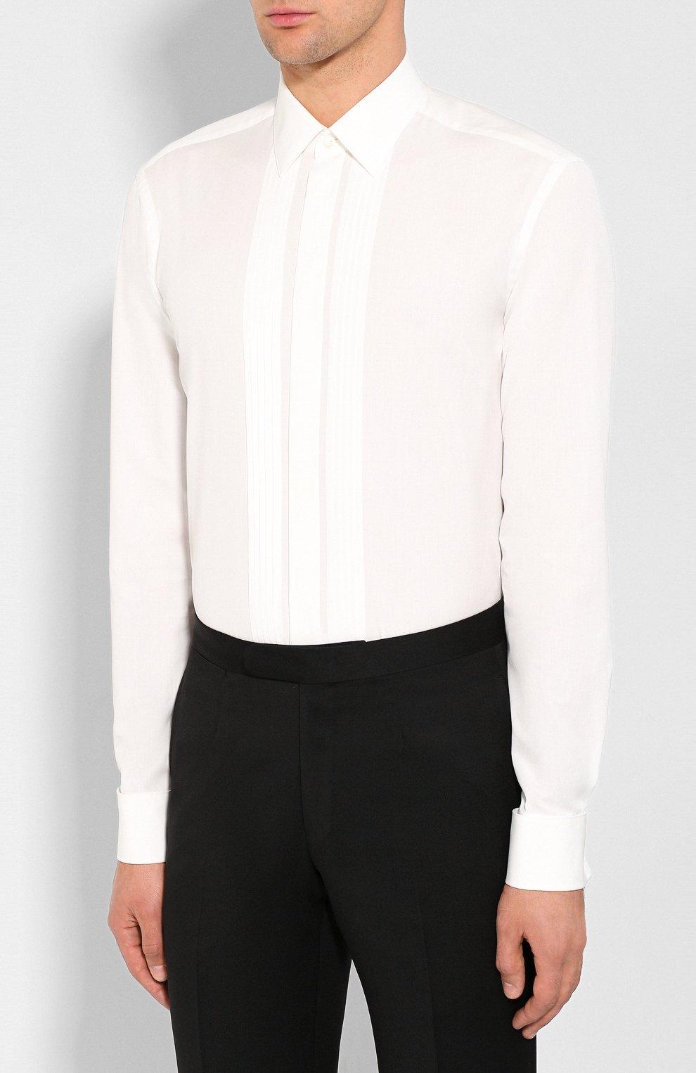 Мужская хлопковая сорочка VAN LAACK белого цвета, арт. M0BIERE-DTF/130657   Фото 3 (Воротник: Кент; Рукава: Длинные; Длина (для топов): Стандартные; Материал внешний: Хлопок; Статус проверки: Проверено)