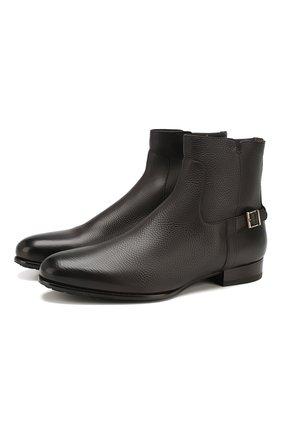 Мужские кожаные сапоги SANTONI темно-коричневого цвета, арт. MCWI15855FL1ADI0T60 | Фото 1