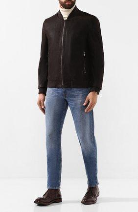 Мужской кожаный бомбер CORNELIANI коричневого цвета, арт. 84L5D6-9820108/00   Фото 2