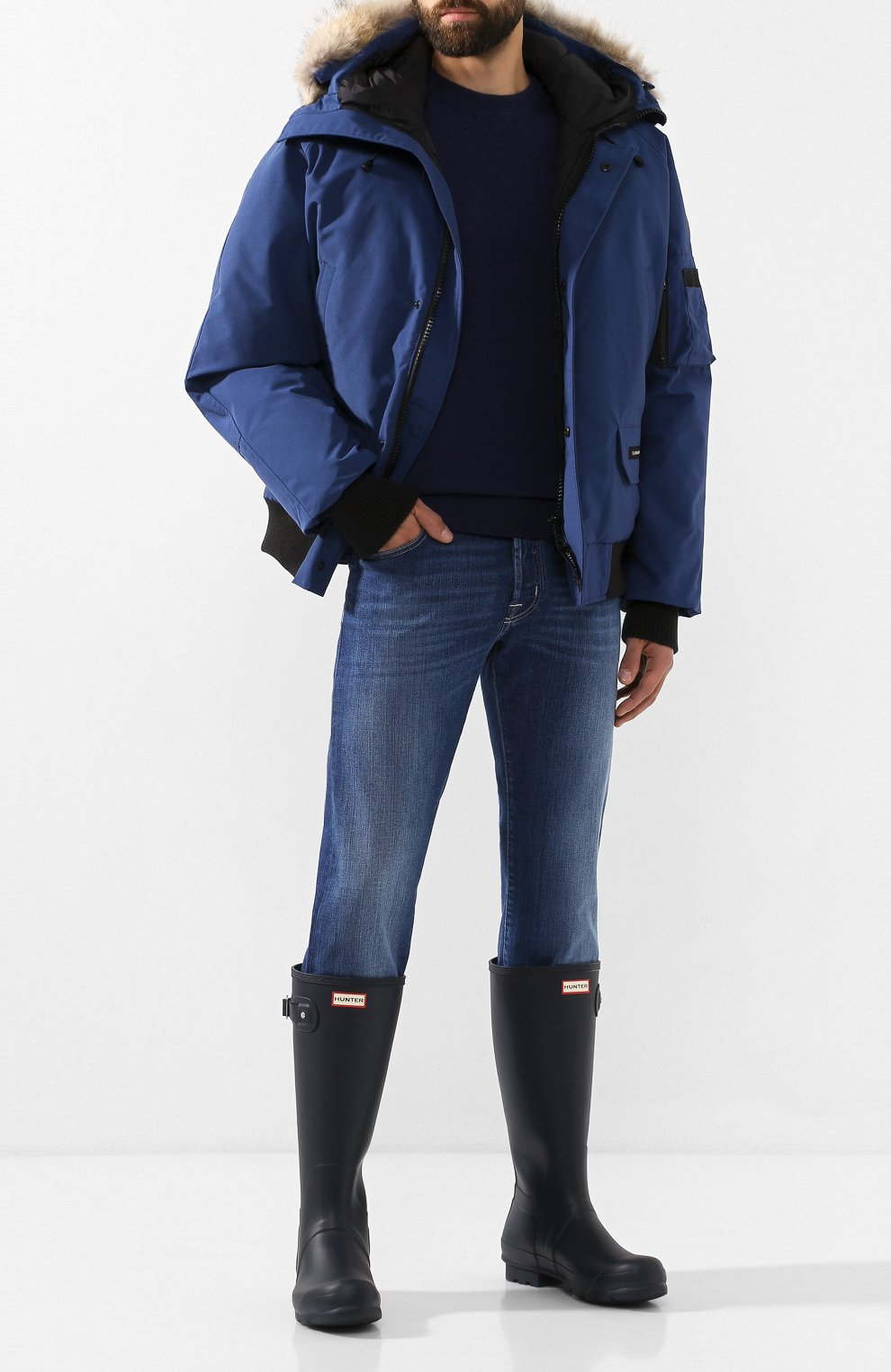 Мужские резиновые сапоги HUNTER темно-синего цвета, арт. MFT9000RMA | Фото 2