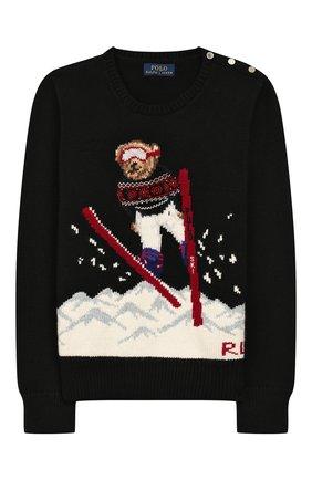 Детский пуловер из смеси хлопка и шерсти POLO RALPH LAUREN черного цвета, арт. 313763177 | Фото 1