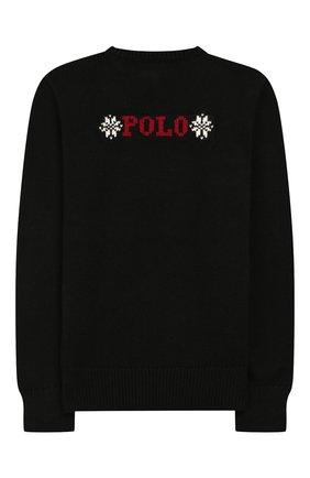 Детский пуловер из смеси хлопка и шерсти POLO RALPH LAUREN черного цвета, арт. 313763177 | Фото 2