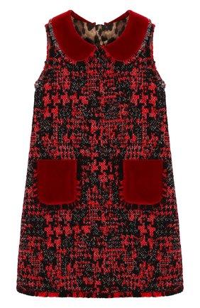 Детское твидовое платье DOLCE & GABBANA красного цвета, арт. L51DS7/FMMFJ/2-6 | Фото 1