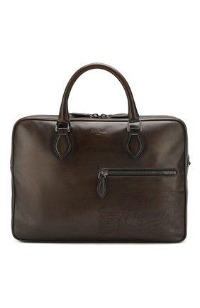 Мужская кожаная сумка для ноутбука BERLUTI коричневого цвета, арт. M149253 | Фото 1