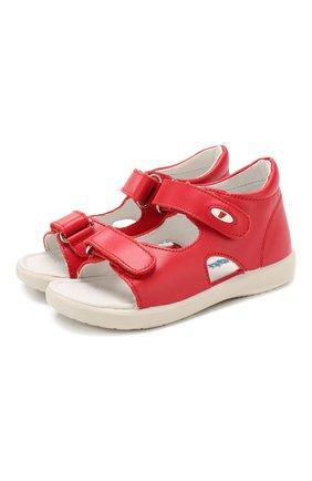 Детские кожаные босоножки с застежкой велькро FALCOTTO красного цвета, арт. 0011500728/01 | Фото 1