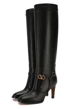 Женские кожаные сапоги valentino garavani go logo VALENTINO черного цвета, арт. SW2S0N04/DSH   Фото 1