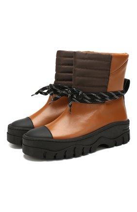 Женские кожаные ботинки GANNI коричневого цвета, арт. S1022 | Фото 1